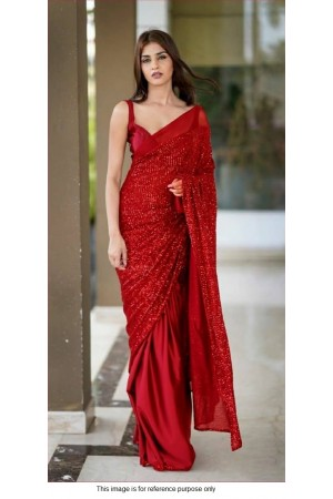 Bollywood model Georgette Red sequins half and half saree