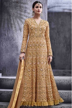Beige color dove silk party wear anarkali kameez
