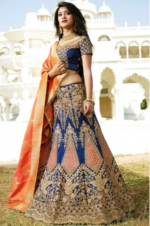 Navy blue color silk wedding lehenga choli
