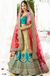 Rama color silk wedding lehenga choli