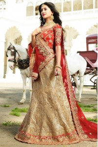 cream and red color silk wedding lehenga choli