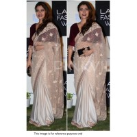 Kajol beige and maroon silk georgette and net bollywood saree