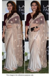 Kajol beige and maroon silk georgette and net bollywood saree