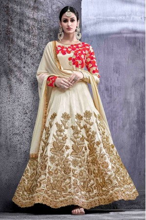 off white swiss shadow party wear anarkali kameez