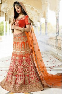Orange and red color silk wedding lehenga choli