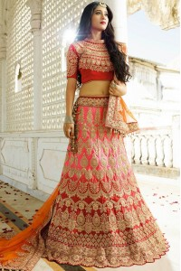 Pink and red color silk wedding lehenga choli