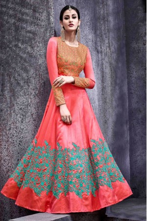 Pink color swiss shadow party wear anarkali kameez