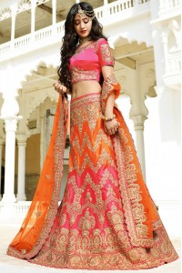 Pink and orange color silk wedding lehenga choli
