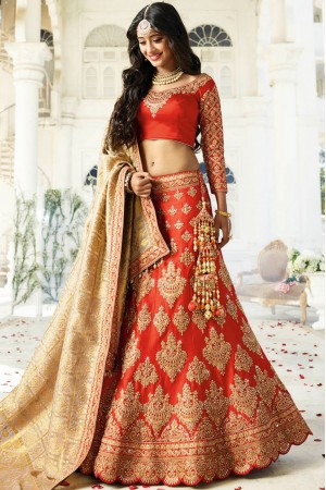 Red color silk wedding lehenga choli