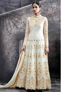 White color netted party wear anarkali kameez