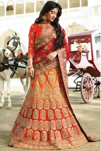 Yellow and red color silk wedding lehenga choli