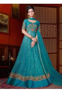 Blue color net wedding anarkali