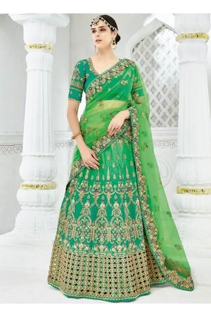 Green satin silk green wedding lehenga choli 1301