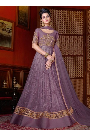 Lavender color net wedding anarkali