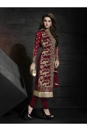 Maroon color net party wear straight cut salwar kameez