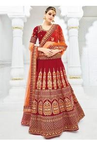Maroon color silk wedding lehenga choli 1305