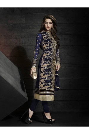 Navy blue color net party wear straight cut salwar kameez