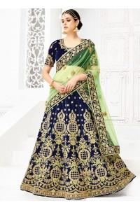 Navy blue silk wedding lehenga choli 1307