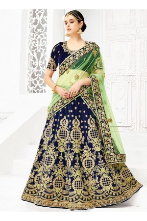 Navy blue silk wedding lehenga choli 1307