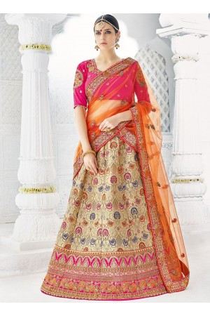 Offwhite orange pink silk wedding lehenga choli 1303