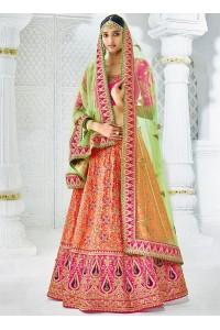 Peach color silk wedding lehenga choli 1304