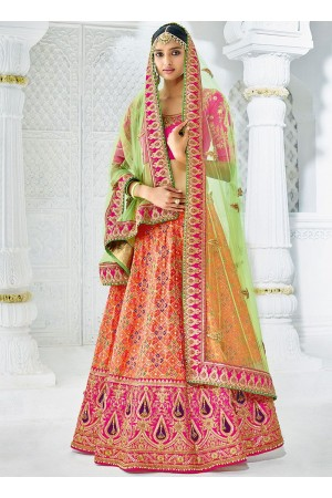 Peach color silk wedding lehenga choli 1304