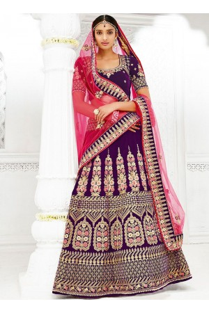 Purple color silk wedding lehenga choli 1306