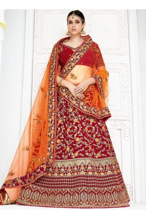 Red color silk wedding lehenga choli 1302