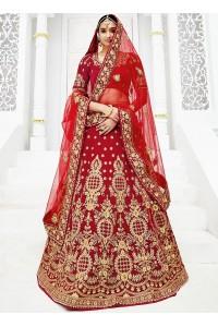 Red silk wedding lehenga choli 1308