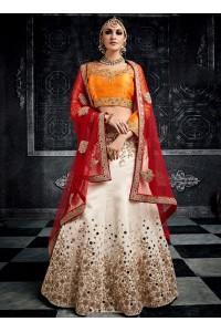 White color australian silk wedding lehenga choli 3004