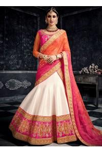 White pink orange color australian silk wedding lehenga choli 3002