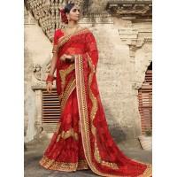 Part wear red net saree 1956