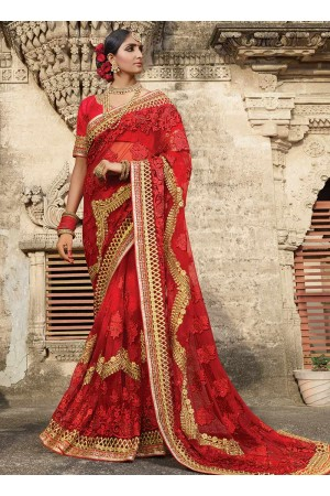 Part wear red net saree 1956