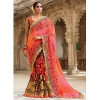 Party wear Brown and pink half n half saree 1955