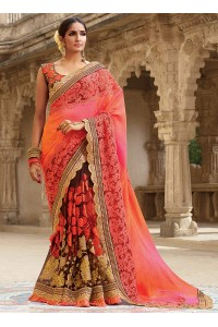 Party wear Brown and pink half n half saree 1955