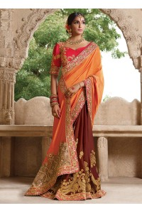 Party wear brown n orange half n half saree 1957