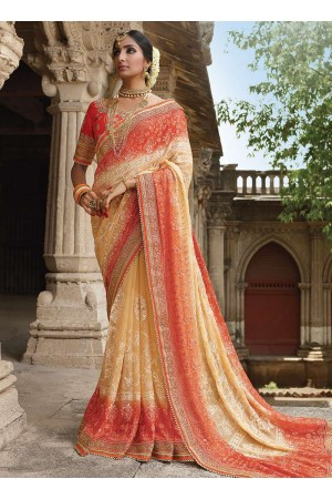 Party wear cream georgette chiffon saree 1952