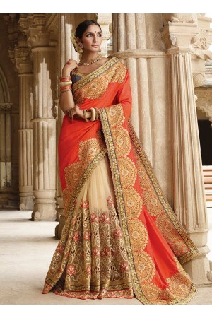 Party wear cream n orange half n half saree 1959