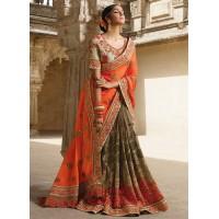 Party wear grey n orange half n half saree 1962