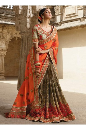 Party wear grey n orange half n half saree 1962