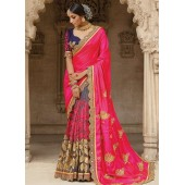 Party wear grey n pink half n half saree 1958