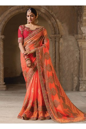 Party wear orange art silk georgette saree 1961