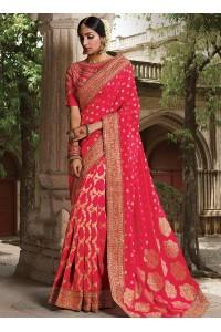 Party wear pink art silk saree 1960