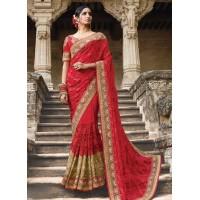 Party wear red georgette net saree 1951