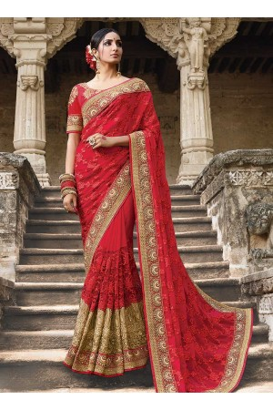 Party wear red georgette net saree 1951