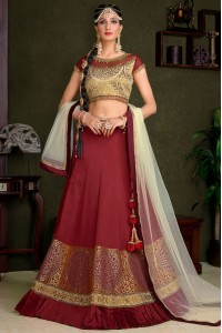 Maroon silk wedding lehenga choli