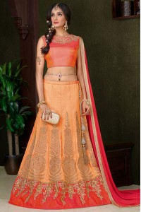 Peach color silk wedding lehenga choli
