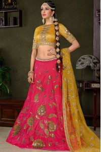 Pink silk wedding lehenga choli