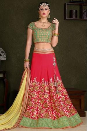 Pink silk wedding lehenga choli