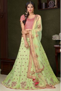 Pista green silk wedding lehenga choli